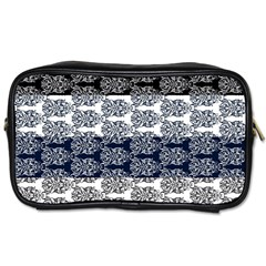 Digital Print Scrapbook Flower Leaf Colorgray Black Purple Blue Toiletries Bags