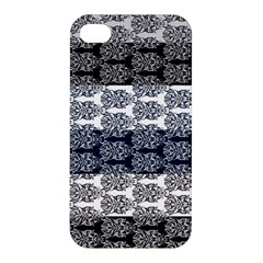 Digital Print Scrapbook Flower Leaf Colorgray Black Purple Blue Apple iPhone 4/4S Hardshell Case