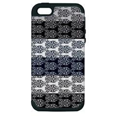 Digital Print Scrapbook Flower Leaf Colorgray Black Purple Blue Apple Iphone 5 Hardshell Case (pc+silicone)