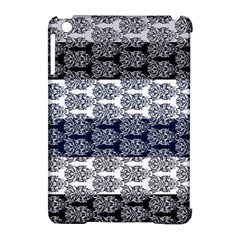 Digital Print Scrapbook Flower Leaf Colorgray Black Purple Blue Apple iPad Mini Hardshell Case (Compatible with Smart Cover)