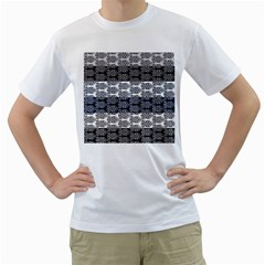 Digital Print Scrapbook Flower Leaf Colorgray Black Purple Blue Men s T Shirt (white)