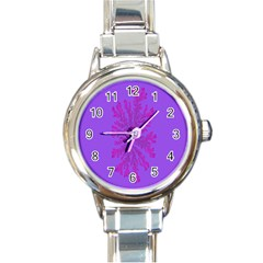 Dendron Diffusion Aggregation Flower Floral Leaf Red Purple Round Italian Charm Watch