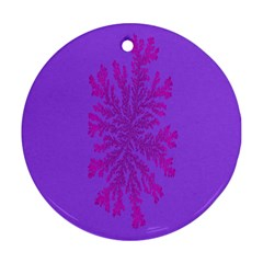 Dendron Diffusion Aggregation Flower Floral Leaf Red Purple Ornament (Round)
