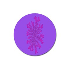 Dendron Diffusion Aggregation Flower Floral Leaf Red Purple Magnet 3  (Round)