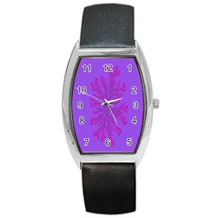 Dendron Diffusion Aggregation Flower Floral Leaf Red Purple Barrel Style Metal Watch