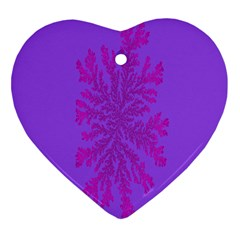 Dendron Diffusion Aggregation Flower Floral Leaf Red Purple Heart Ornament (Two Sides)