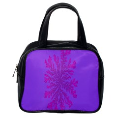 Dendron Diffusion Aggregation Flower Floral Leaf Red Purple Classic Handbags (One Side)