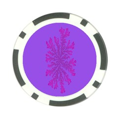 Dendron Diffusion Aggregation Flower Floral Leaf Red Purple Poker Chip Card Guard (10 pack)
