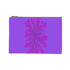 Dendron Diffusion Aggregation Flower Floral Leaf Red Purple Cosmetic Bag (Large)