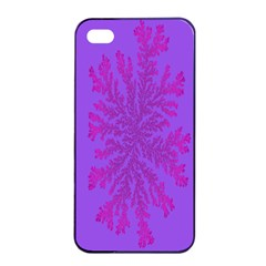 Dendron Diffusion Aggregation Flower Floral Leaf Red Purple Apple iPhone 4/4s Seamless Case (Black)