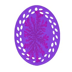 Dendron Diffusion Aggregation Flower Floral Leaf Red Purple Oval Filigree Ornament (Two Sides)