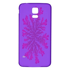 Dendron Diffusion Aggregation Flower Floral Leaf Red Purple Samsung Galaxy S5 Back Case (White)