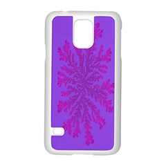 Dendron Diffusion Aggregation Flower Floral Leaf Red Purple Samsung Galaxy S5 Case (White)