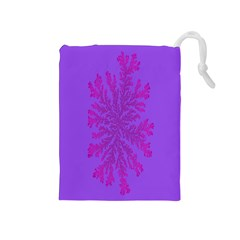 Dendron Diffusion Aggregation Flower Floral Leaf Red Purple Drawstring Pouches (Medium)