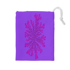 Dendron Diffusion Aggregation Flower Floral Leaf Red Purple Drawstring Pouches (Large)