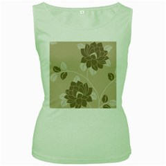 Flower Floral Grey Rose Leaf Women s Green Tank Top
