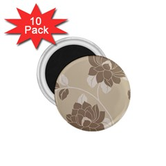 Flower Floral Grey Rose Leaf 1.75  Magnets (10 pack)