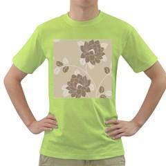 Flower Floral Grey Rose Leaf Green T-Shirt