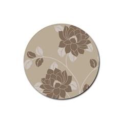 Flower Floral Grey Rose Leaf Rubber Coaster (Round)