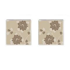 Flower Floral Grey Rose Leaf Cufflinks (Square)
