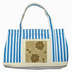 Flower Floral Grey Rose Leaf Striped Blue Tote Bag