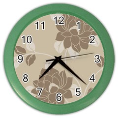 Flower Floral Grey Rose Leaf Color Wall Clocks
