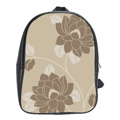 Flower Floral Grey Rose Leaf School Bags(Large)
