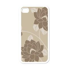 Flower Floral Grey Rose Leaf Apple iPhone 4 Case (White)