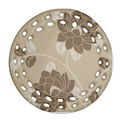 Flower Floral Grey Rose Leaf Ornament (Round Filigree)