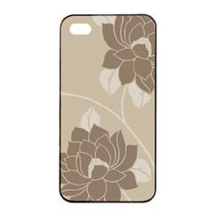Flower Floral Grey Rose Leaf Apple iPhone 4/4s Seamless Case (Black)