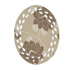 Flower Floral Grey Rose Leaf Oval Filigree Ornament (Two Sides)