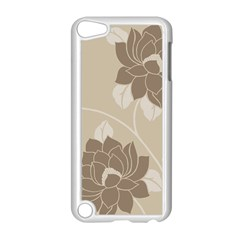 Flower Floral Grey Rose Leaf Apple iPod Touch 5 Case (White)