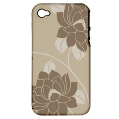 Flower Floral Grey Rose Leaf Apple iPhone 4/4S Hardshell Case (PC+Silicone)