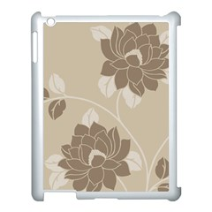 Flower Floral Grey Rose Leaf Apple iPad 3/4 Case (White)