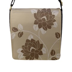 Flower Floral Grey Rose Leaf Flap Messenger Bag (L)
