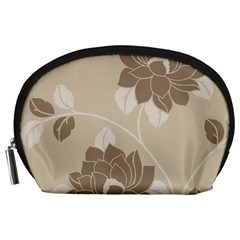 Flower Floral Grey Rose Leaf Accessory Pouches (Large)