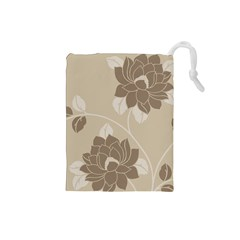 Flower Floral Grey Rose Leaf Drawstring Pouches (Small)