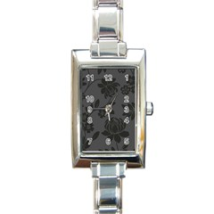 Flower Floral Rose Black Rectangle Italian Charm Watch