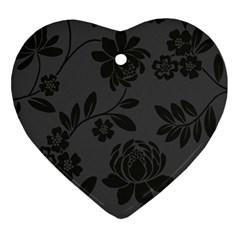 Flower Floral Rose Black Ornament (Heart)