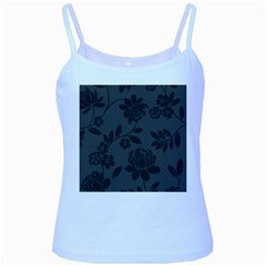 Flower Floral Rose Black Baby Blue Spaghetti Tank