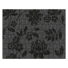 Flower Floral Rose Black Rectangular Jigsaw Puzzl