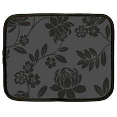 Flower Floral Rose Black Netbook Case (Large)