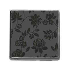 Flower Floral Rose Black Memory Card Reader (Square)