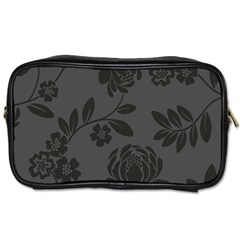 Flower Floral Rose Black Toiletries Bags