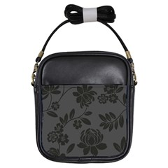 Flower Floral Rose Black Girls Sling Bags