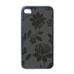 Flower Floral Rose Black Apple iPhone 4 Case (Black)