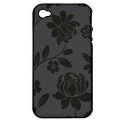 Flower Floral Rose Black Apple iPhone 4/4S Hardshell Case (PC+Silicone)