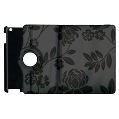 Flower Floral Rose Black Apple iPad 3/4 Flip 360 Case