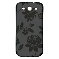 Flower Floral Rose Black Samsung Galaxy S3 S III Classic Hardshell Back Case