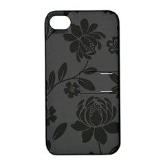 Flower Floral Rose Black Apple iPhone 4/4S Hardshell Case with Stand